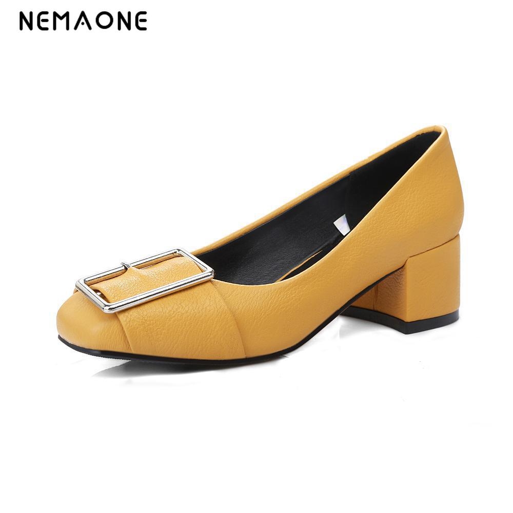 New fashion women shoes high square heel women pmps square toe casual shoes woman black blue white yellow<br>