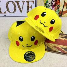 Wholesale PocketMonster Stitching Child Girl Baseball Cap Cosplay Pikachu Flat Hip Hop Hat Travel Outdoor Sun Hat(China)