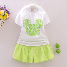 Kids clothes baby girls minnie mouse clothing sets kids short sleeve t shirts tops +skirt pants 2pcs 4 sets/l
