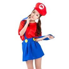 2017 New Women Girls Super Mario Plumber Game Cosplay Costume Female Party Dress Set Hallowmas Carnival Party Supplies