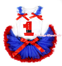 White Baby Pettitop, 1st Santa Claus Birthday Number, Royal Blue Ruffles & Red Bows, Royal Blue Red Newborn Pettiskirt MANN97