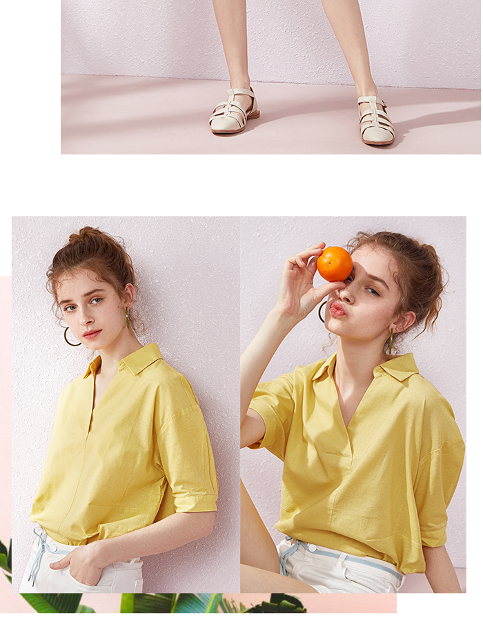 SEMIR Short sleeve white shirt women summer 19 new lapel V-neck shirt simple solid color students fresh relaxed blouse 10