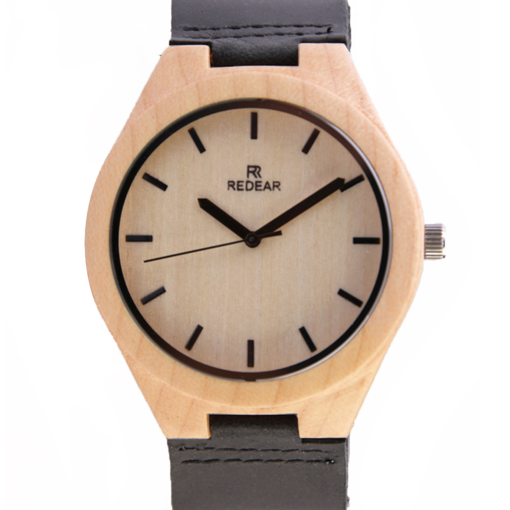 2017 New Luxury Redear Maple Dial Real Leather Causal Wooden Mens Watches SJ1448 Strap Quartz Wristwatch Male Relogio Masculino<br><br>Aliexpress