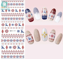 Rocooart DS371-372 Water Transfer Nails Art Sticker 2017 Year Christmas Xmax Deer Harajuku Nail Wrap Sticker Manicura sticker(China)