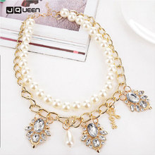 Buy Hot Double Layers Simulated Pearl Jewelry Women Crystal Leaf Chain Necklaces & Pendants Clavicle Choker for $3.58 in AliExpress store