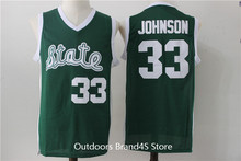 Stitched Magic Earvin Johnson Throwback Basketball Jerseys #33 State College Basketball Jersey Stitched Shirts Green for Men