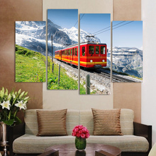Free Shipping 4 Piece Canvas Modern Wall Oil Painting Iceberg Under The Train Home Decoration Art Picture Paint on Canvas Prints(China)