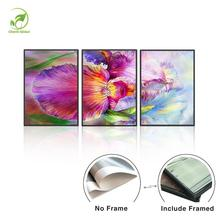 Abstract Flowers 3pcs Canvas Painting Landscape Wall Art Picture Melamine Sponge Board Framed Purple Art Flower Modern Oil Paint