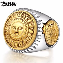 ZABRA 925 Sterling Silver Men Ring Gold Color Sun God Smile 3D Dinosaur Sculpture Adjustable Size Vintage Punk Handmade Jewelry(China)