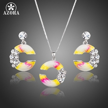 AZORA Unique C Style Oil Painting Pattern Stellux Austrian Crystal Drop Earrings and Pendant Necklace Jewelry Sets TG0169