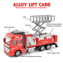 Dump Truck Model Plastic 1/50 Scale Alloy Lift Fire Truck Ladder Engineering Car Vehicle Alloy Model Toys Kids Best Gifts