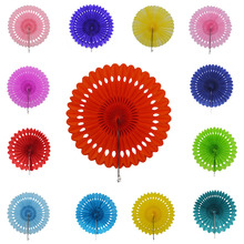 20cm/25cm/30cm Tissue Paper Fans Honeycomb Pinwheels Hollow Paper Hanging Flowers Birthday Wedding Party Decoration(China)