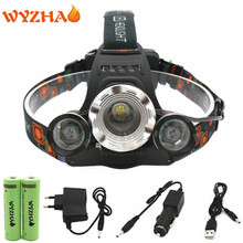 NEW Head lamp 11000 lumens ZOOM  1*T6+2*R5 waterproof Headlamp Torch floodlight  Rechargeable Headlight  mining lamp Head light