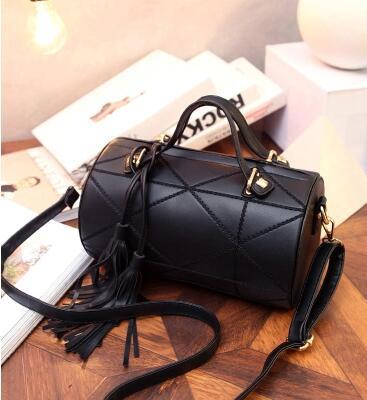 Fashion Women Soft Luxury Leather Handbag With Tassel Crossbody  Drums Handbag Small Bag Shoulder Messenger Cylinder Bag<br><br>Aliexpress