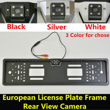 Waterproof 170 degree CCD Night Vision European License Plate Frame Backup Car Number Rear View RearView Reverse Camera(China)