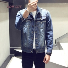new classic denim jacket men brand clothing cotton casual men jean jacket dark blue solid coat male