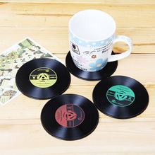 6pcs Vintage Vinyl Coasters Groovy CD Record Table Bar Drinks Cup Mats