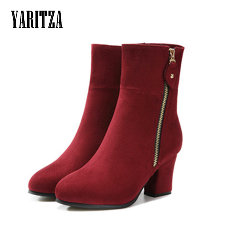 YARITZA 2017 Women Boots High Quality Mid Calf Genuine Leather Boots for Women Med Heel Women Boots Rubber Sole Size 35-41<br><br>Aliexpress