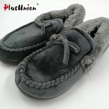 novelty cotton winter Bow tie men slippers soft keep warm solid plush home grey brown indoor shoes with fur cotton-padded shoes(China)