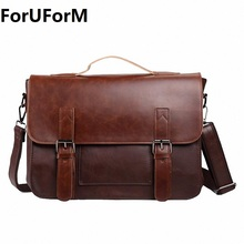 Hot selling Men bag Crazy horse PU Leather bags men Messenger Bags crossbody Shoulder men's travel bag briefcase LI-815(China)