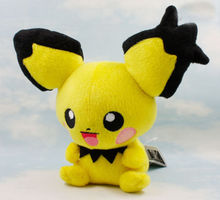 "New Pikachu Toys Pichu Soft Plush Stuffed Animal Teddy Doll 8"" Anime Baby Spiky-eared Dolls Christmas Gift"