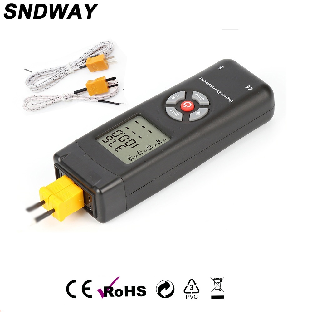 Digital Thermometer with Two Type K Thermocouples Input LCD Backlight Temperature Meter Tester (-50 to 1350oC)  Data Log Storage<br>