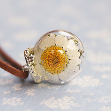 Real Dried Dry Flowers Necklace Glass Ball Necklaces Pendants Jewelry