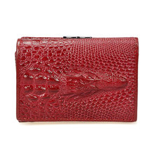 Royal Short Genuine Leather Women Female Shining Alligator Wallet 3 Fold Zipper Coin Pocket Billeteras Mujer Purse Wallet Women(China)
