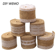2 Meter 5cm Jute Burlap rolls Hessian Ribbon with Lace rustic vintage wedding decoration supplies diy ornament burlap wedding(China)