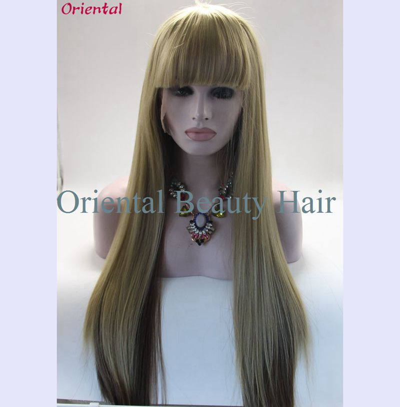 Free shipping cheap long sexy ombre blond with brown color cosplay wig heat resistant hair synthetic lace front wig with fringe<br><br>Aliexpress