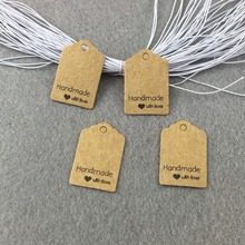 "3*2cm Kraft Gift Tags ""Handmade with love"" packaging Labels Paper Price Tags/Hang tags 200pcs Tags+200pcs Strings for gifts/box(China)"