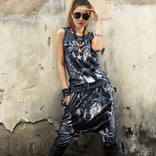Womens two piece set Black Sleeveless Crop top Harajuku print Wolf Fashion 2 set Casual women's tracksuits conjunto moleton