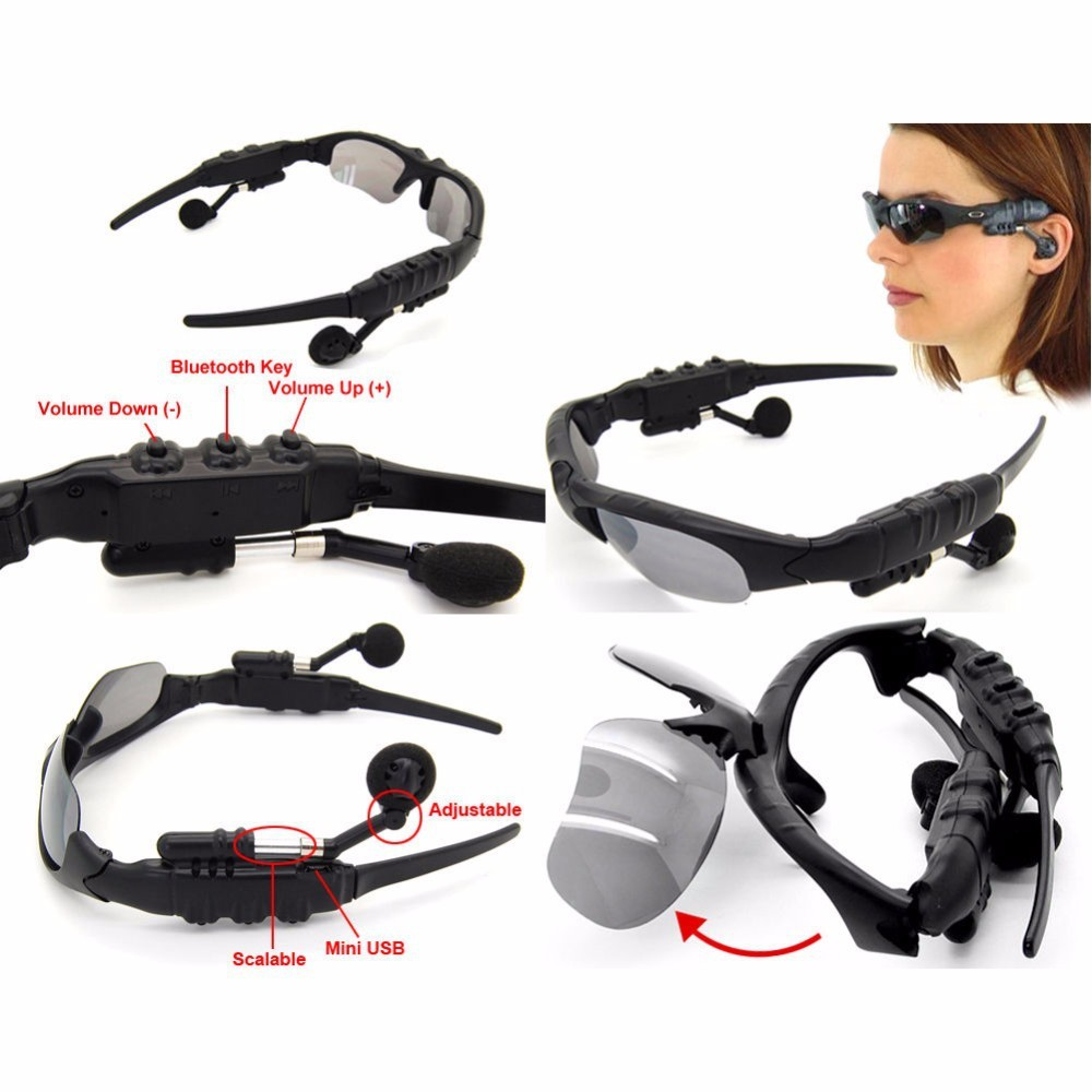 Free shipping Bluetooth  Sun Glasses Wireless  Headset sport Stereo Headphone with Mic Handsfree for iPhone Huawei Xiaomi