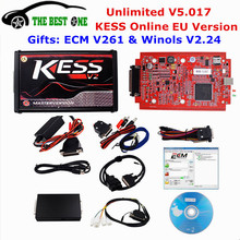 Online Red EU Version KESS V5.017 V2.23 No Tokens Limit Kess Master HW 5.017 Kess V2 OBD2 Manager Tuning Kit 5017 ECU Programmer(China)