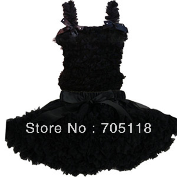Classic Black girls chiffon tutus dress with 3 bows princess dress free shipping<br><br>Aliexpress