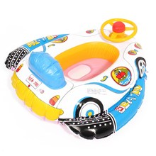 PVC plastic Baby Inflatable Swim Float Boat ring Infant Swimming Aid Trainer With Wheel Horn Swimming Accessories(China)