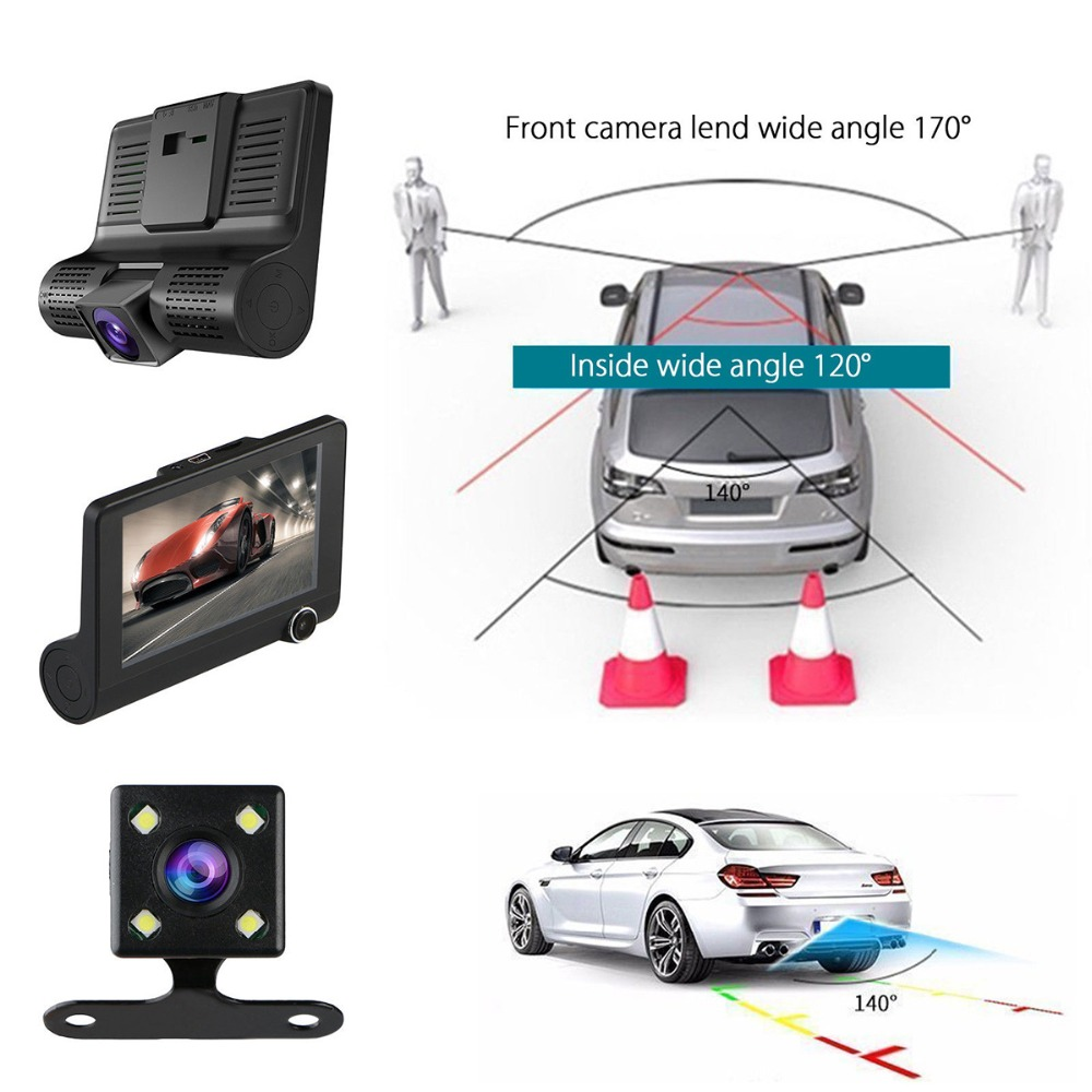 4 1080P HD 170 Angle 3 Lens Car DVR Dash Cam G-sensor Recorder and Rearview Camera Three Way Camera Tri-lens Night vision Camco (4)