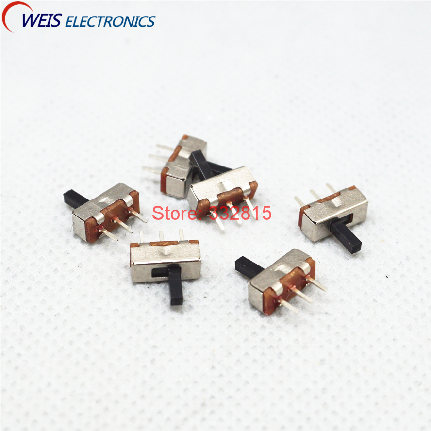 100PCS SS12D00 SS-12D00 4MM 3MM 5MM 1P2T toggle switch Interruptor on-off mini 1 Way 2 Band Slide Switch PCB Mount Free shipping 4