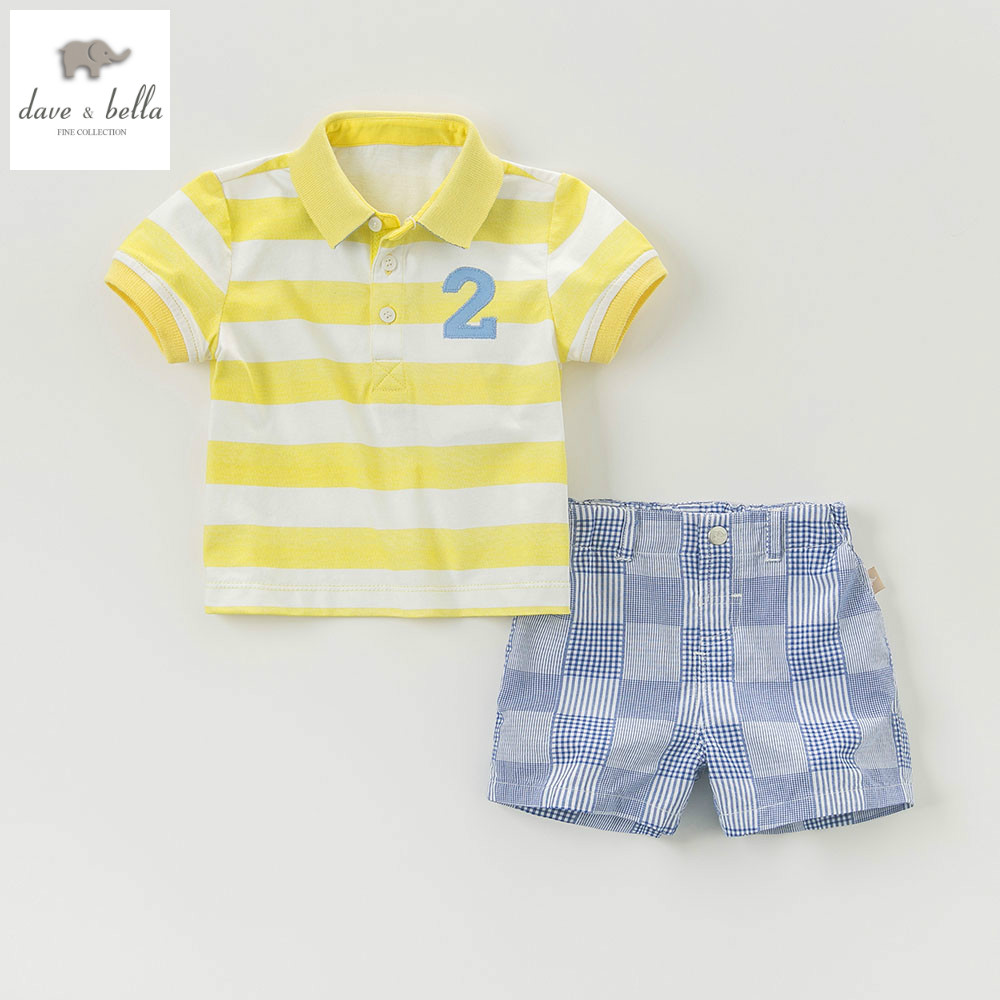 DB5056 dave bella summer baby boys clothing set kid yellow sets childs infant clothes children set baby costumes child cool suit<br>