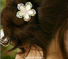 New Fashion Gold Color Crystal Rhinestones alloy Flower Hair Clip Hairpin(China)