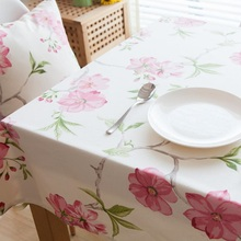 Cotton Linen Pastoral Flower Printed Tablecloths Bohemia Tablecloth Lace Rectangular for Home Wedding Dining Table Decorations