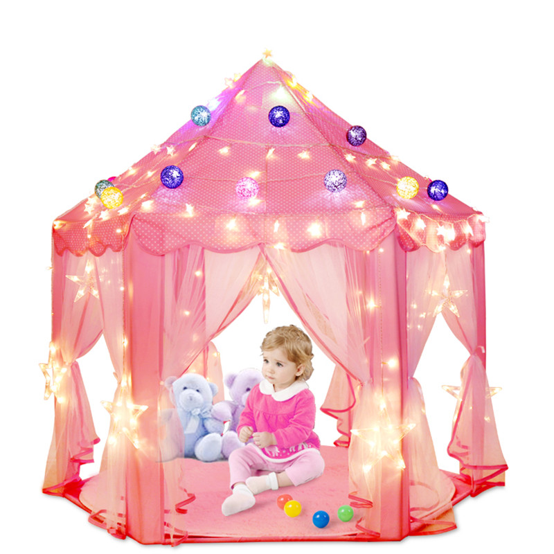 Kid Girls Pink Princess Castle Cute Playhouse Children Play Tent