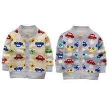 2017 New Baby Children Clothing Boys Girls Candy Color Cars Print Knitted Cardigan Sweater Kids Spring Autumn Cotton Outer Wear(China)