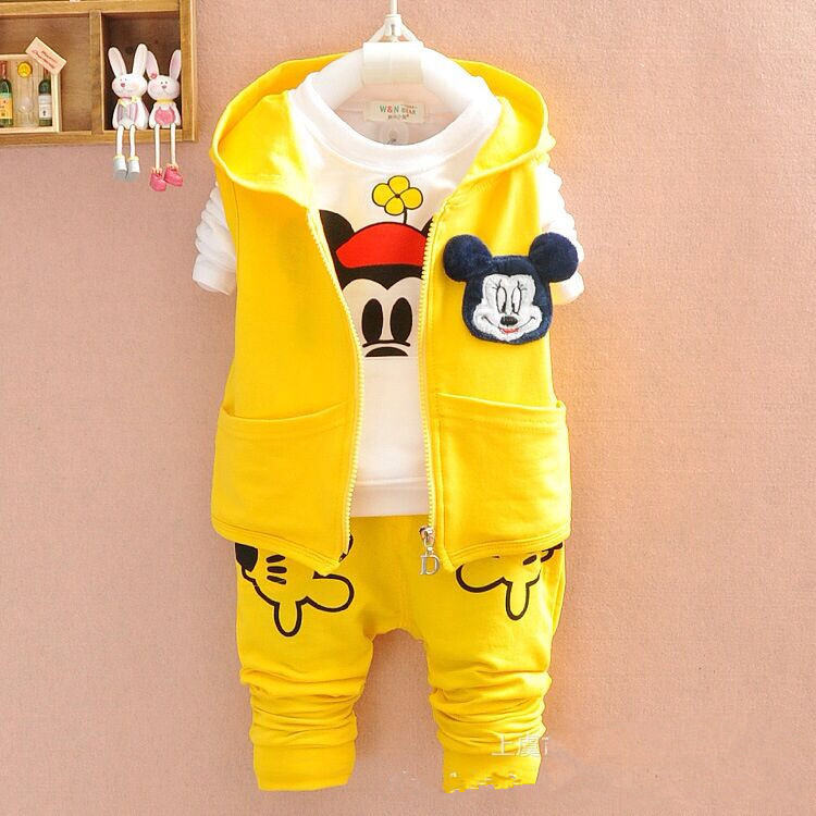 Baby Girls Clothing Set Infant Coat + T Shirt + Pants 3Pcs Outfit Children Cartoon Mickey Winter Toddler Boys Sports Clothes Set<br><br>Aliexpress