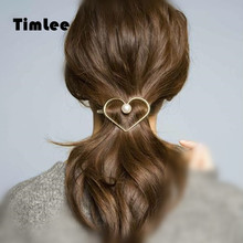 Timlee H037 Atmosphere Simple Texture Heart Imitation Pearl Metal  Hair Pins Clip Hair accessory wholesale