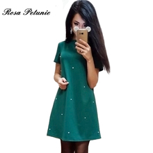 2017 Spring New Style Fashion Women's Party Dress Casual Short Sleeved  Mini Dresses Street Dresses Dark Green Vestido