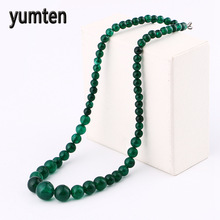 Yumten Green Agate Necklace Power Natural Stone Crystal Men For Women Jewelry Bead Chain Ketting Hippie Gothic Kolye Mermaid Gif(China)