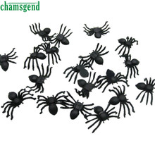 CHAMSGEND Modern Toys for Children 20 PC Halloween Plastic Black Spider Joking Toys Decoration Realistic Kids Toys WOct19