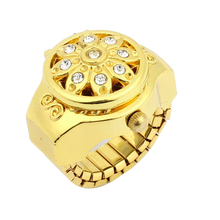 Round Dial Crystal Flower Decor Elastic Band Finger Ring Watch Gold Tone for Lady