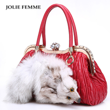 JOLIE FEMME Genuine Leather Shoulder Bag Real Fox Furs Luxury Designer Boston Tote Bag Ladies Sheep Skin Handbags With Diamonds